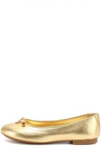 Балетки из металлизированной кожи с бантом и подвеской Dolce & Gabbana