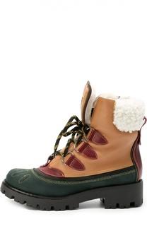 Комбинированные ботинки с внутренней отделкой из меха Dsquared2