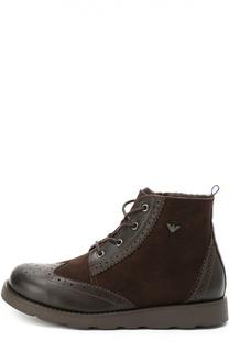 Комбинированные ботинки с брогированием Giorgio Armani