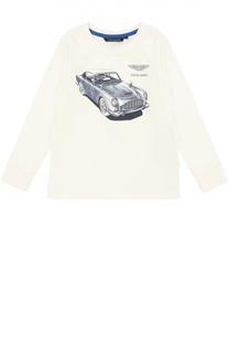 Хлопковый лонгслив с принтом Aston Martin