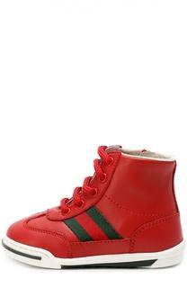 Высокие кожаные кеды на шнуровки Gucci