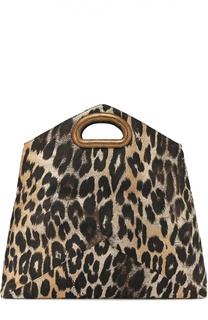 Клатч с леопардовым принтом и кожаной отделкой Dries Van Noten