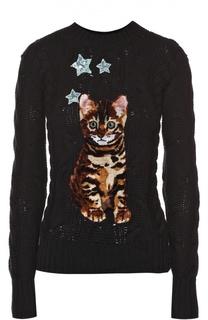 Кашемировый пуловер фактурной вязки с декоративной отделкой Dolce & Gabbana