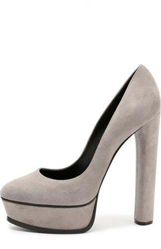 Замшевые туфли на устойчивом каблуке и платформе Casadei