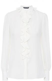 Шелковая блуза прямого кроя с воротником жабо Alexander McQueen