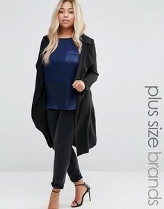 Длинное пальто с драпировкой New Look Plus - Черный