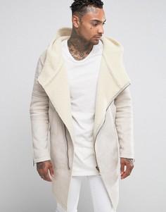 Пальто с капюшоном на меховой подкладке Black Kaviar - Бежевый