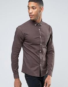 Коричневая оксфордская рубашка скинни ASOS - Рыжий