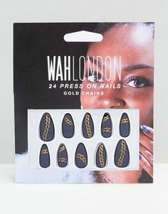 Накладные ногти WAH London & ASOS - Chain Mail - Синий