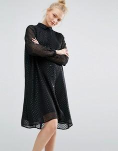 Свободное платье в горошек Monki - Черный