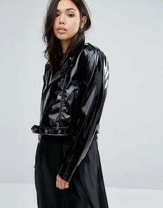Укороченная лакированная куртка из кожзаменителя First & I - Черный