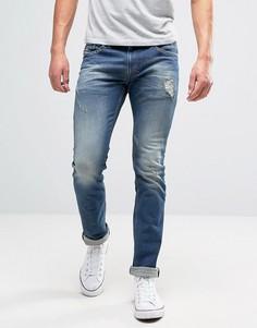 Тертые джинсы слим Diesel Thavar 855U - Синий