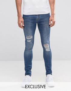 Супероблегающие джинсы из стираного денима Brooklyn Supply Co Dyker - Синий