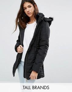 Дутая куртка с искусственным мехом на капюшоне Brave Soul Tall - Черный