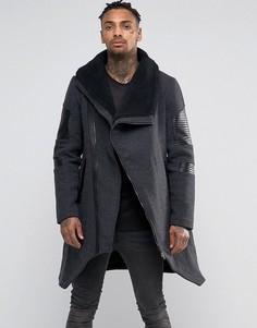 Асимметричное шерстяное пальто с воротником борг Black Kaviar - Серый
