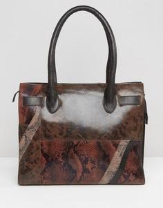 Кожаная сумка-тоут со вставками под змеиную кожу Urbancode - Коричневый