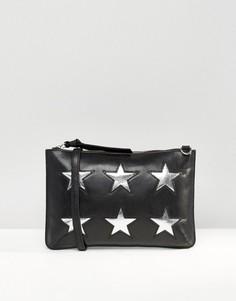 Кожаный клатч с вырезанными звездами Urbancode - Черный