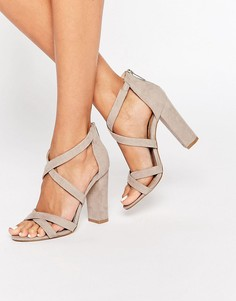 Сандалии на блочном каблуке с ремешками Miss KG Sian - Серый