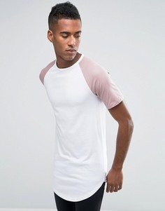 Удлиненная футболка с контрастными рукавами реглан и асимметричным подолом Jack & Jones - Белый