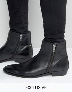 Кожаные ботинки на двух молниях Walk London Picadilly - Черный