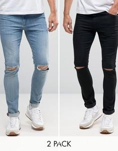 2 пары джинсов скинни с рваной отделкой (черные и голубые) ASOS - СКИДКА 17 - Мульти