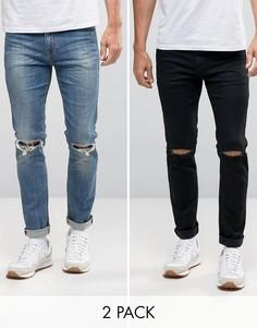 2 пары джинсов скинни с рваной отделкой (черные и синие) ASOS - СКИДКА 17 - Мульти