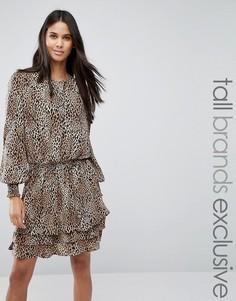 Приталенное платье со звериным принтом Y.A.S Tall - Мульти