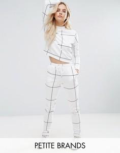 Спортивные штаны с решетчатым принтом Noisy May Petite - Белый