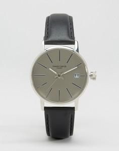 Серебристые часы с серым кожаным ремешком Simon Carter - Черный