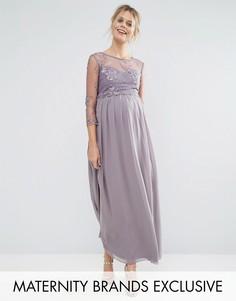 Платье макси для беременных с цветочной аппликацией Little Mistress Maternity - Серый