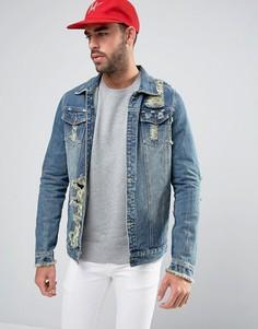 Рваная куртка из стираного денима Liquor & Poker Norton - Синий