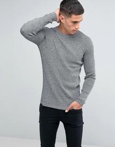 Серый облегающий джемпер в рубчик New Look - Черный