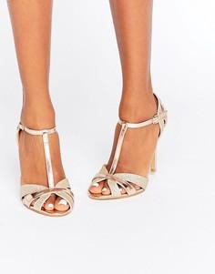 Золотистые сандалии на каблуке с Т-образным ремешком True Decadence - Золотой