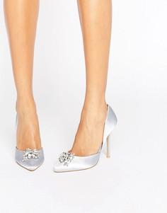 Светло-серые атласные туфли-лодочки с отделкой True Decadence - Серый