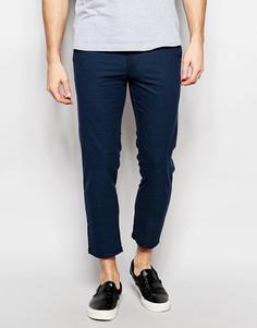 Темно-синие укороченные суженные книзу брюки New Look - Серый