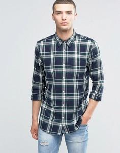 Клетчатая рубашка классического кроя с длинными рукавами New Look - Темно-синий