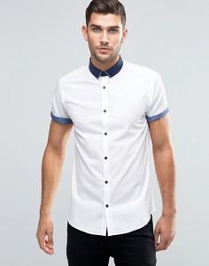 Белая рубашка классического кроя с контрастным воротником и закатанными рукавами New Look - Белый