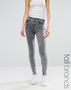 Мраморные зауженные джинсы New Look Tall - Серый