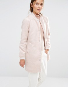 Удлиненная куртка-пилот на основе шерсти New Look - Розовый