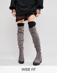 Сапоги-ботфорты для широкой стопы New Look - Серый
