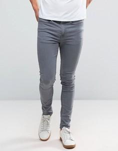 Серые супероблегающие джинсы New Look - Серый