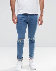 Голубые облегающие джинсы с рваными коленками New Look - Синий