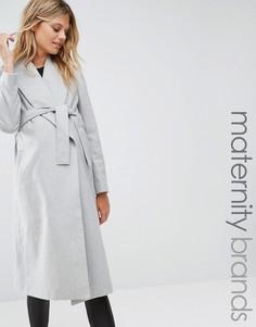 Пальто для беременных с запахом и поясом New Look Maternity - Серый