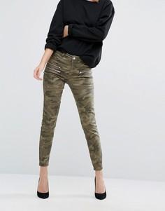 Камуфляжные джинсы скинни с молниями New Look - Зеленый