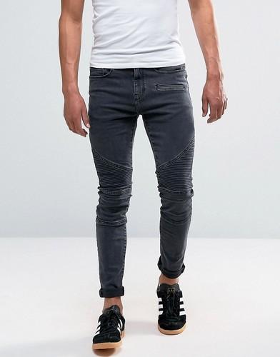 Черные выбеленные джинсы скинни в байкерском стиле New Look - Черный