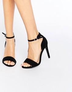 Сандалии из искусственной замши на каблуке New Look - Черный