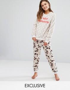 Флисовый пижамный комплект с пандами Chelsea Peers - Кремовый