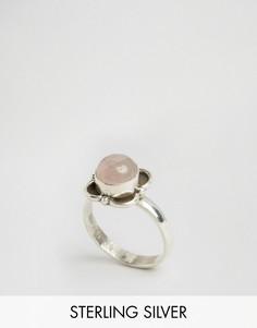 Серебряное кольцо с цветком и розовым кварцем Rock N Rose - Серебряный