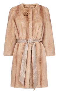 Норковая шуба  с вертикальной раскладкой меха и кожаным поясом Flaumfeder