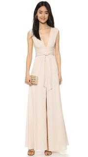 Вечернее платье из джерси с V-образным вырезом и завязками с запахом Halston Heritage